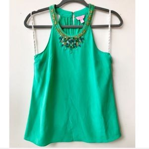 Lilly Pulitzer Embellished Silk Top